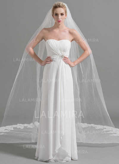 Cathedral Bridal Veils Tulle One-tier Oval/Drop Veil With Lace Applique Edge Wedding Veils (006151948)