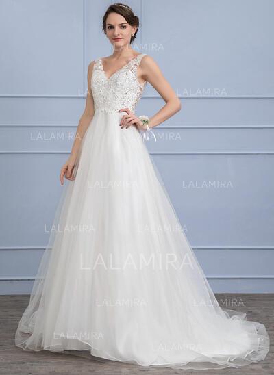 Vestidos princesa/ Formato A Decote V Sweep/Brush trem Tule Vestido de noiva com Beading lantejoulas (002107840)