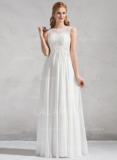 A-Line/Princess Scoop Neck Floor-Length Chiffon Lace Wedding Dress With Beading Sequins (002081897)