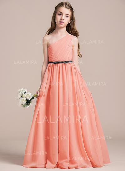 A-Line/Princess Floor-length Flower Girl Dress - Chiffon Sleeveless One-Shoulder With Ruffles/Bow(s) (010096130)