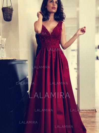 Corte A/Princesa Escote en V con Satén Vestidos de noche (017213437)