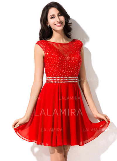 A-Line/Princess Scoop Neck Short/Mini Chiffon Lace Homecoming Dresses With Beading Sequins (022214027)