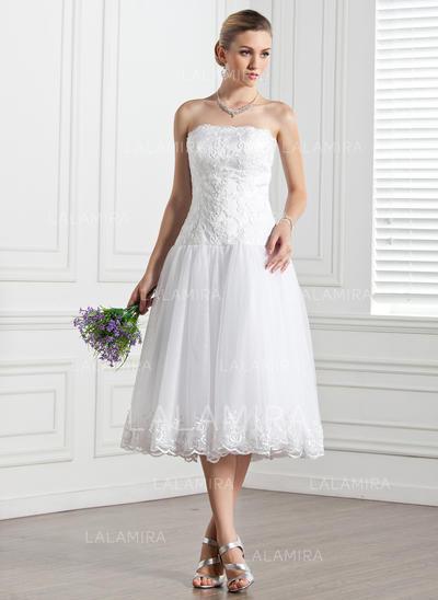 Sexy Strapless A-Line/Princess Wedding Dresses Tea-Length Tulle Sleeveless (002210398)