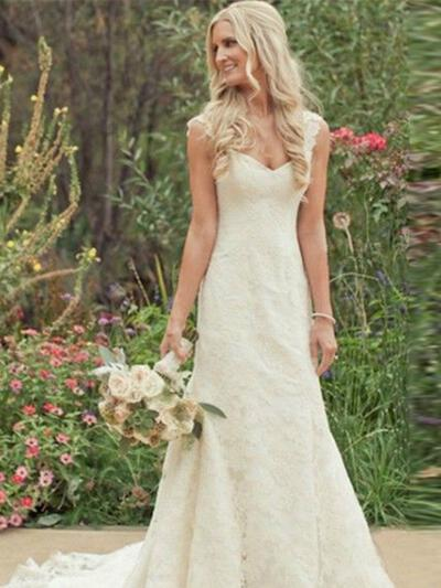 Trumpet/Mermaid Sweetheart Chapel Train Lace Wedding Dresses (002144837)
