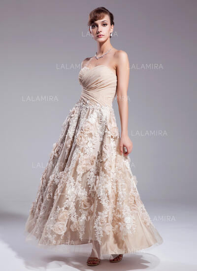 Forme Princesse Amoureux Longueur cheville Mousseline Robe de mariée avec Plissé Motifs appliqués Dentelle Fleur(s) Paillettes (002012841)
