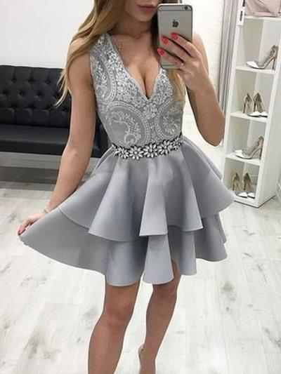 A-Line/Princess V-neck Short/Mini Homecoming Dresses With Beading Appliques Cascading Ruffles (022219317)