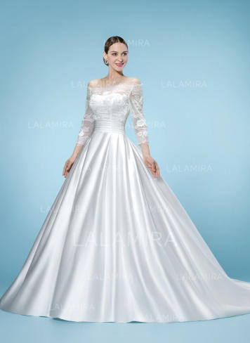 Ball-Gown Off-The-Shoulder Court Train Wedding Dresses With Lace ...