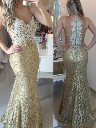 Trumpet/Mermaid Scoop Neck Sweep Train Lace Evening Dresses With Sash Beading Appliques Lace (017217225)