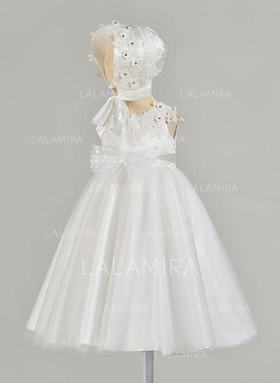 A-Line/Princess V-neck Floor-length Satin Christening Gowns With Beading Bow(s) (2001217431)