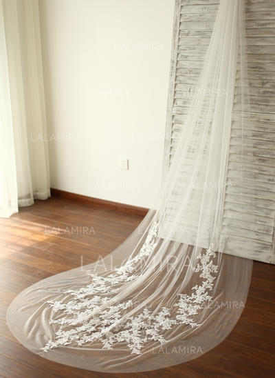 Cathedral Bridal Veils Tulle One-tier Drop Veil With Cut Edge Wedding Veils (006151879)