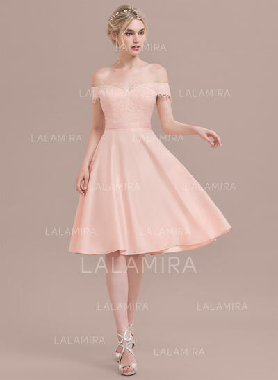 A-Line Off-the-Shoulder Knee-Length Satin Lace Bridesmaid Dress With Beading Sequins (007130564)