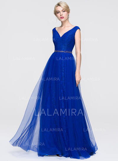 Floor-Length Tulle Prom Dresses With Beading Sequins