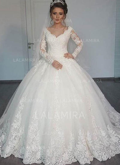 Ball-Gown Tulle Long Sleeves V-neck Floor-Length Wedding Dresses (002147806)