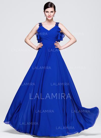 Glamuroso Gasa Corte A/Princesa Cremallera Vestidos de noche (017071538)
