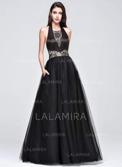 Sleeveless Ball-Gown Tulle Halter Prom Dresses (018210661)