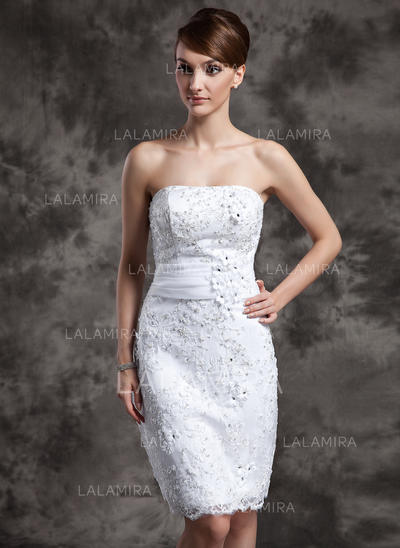 Satin Organza Lace Sheath/Column Knee-Length Strapless Wedding Dresses (002211377)