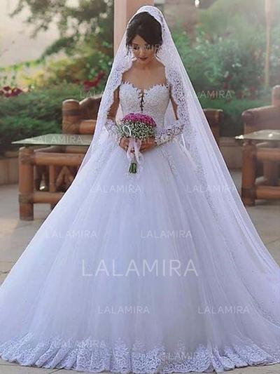 General Plus Ball-Gown Tulle Beautiful Wedding Dresses With Long Sleeves (002217898)