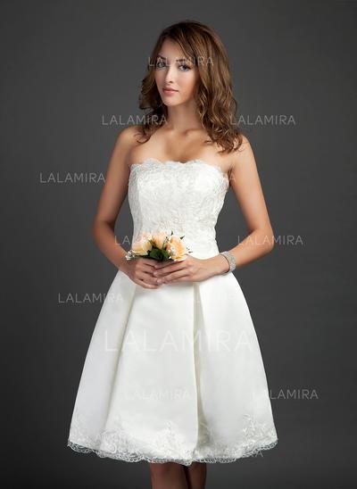 Newest Strapless A-Line/Princess Wedding Dresses Knee-Length Satin Sleeveless (002211505)