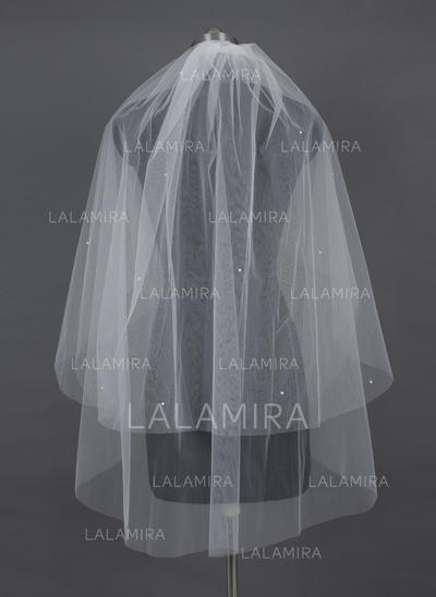 Fingertip Bridal Veils Tulle Two-tier Classic/Cascade With Cut Edge Wedding Veils (006151033)