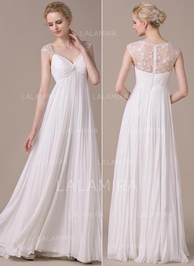 Sin mangas General Grande Corazón con Gasa Vestidos de novia (002059208)
