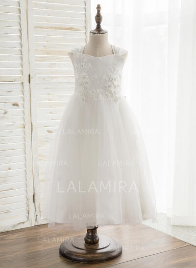 A-Line/Princess Tea-length Flower Girl Dress - Satin/Tulle/Lace Sleeveless V-neck With Bow(s) (010164756)