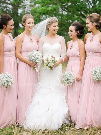 A-Line/Princess Chiffon Bridesmaid Dresses Ruffle Scoop Neck Sleeveless Floor-Length (007211717)