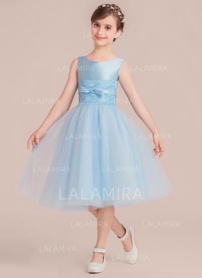 Vestidos princesa/ Formato A Comprimento médio Vestidos de Menina das Flores - Cetim/Tule Sem magas Decote redondo com Beading/Curvado (010136590)