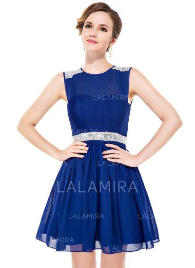 A-Line/Princess Short/Mini Chiffon Scoop Neck Homecoming Dresses (022051142)
