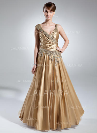 A-Line/Princess Charmeuse Sleeveless V-neck Floor-Length Zipper Up at Side Mother of the Bride Dresses (008213143)
