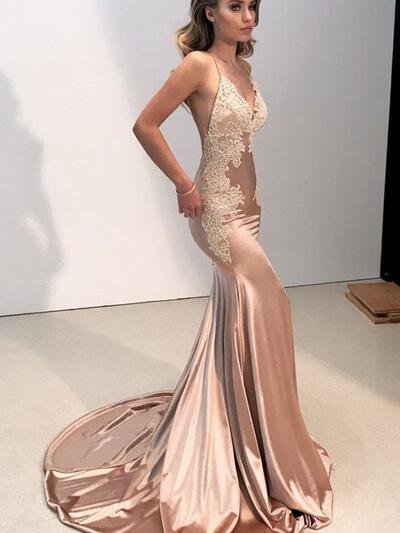 Sleeveless Princess Trumpet/Mermaid Silk Like Satin Appliques Prom Dresses (018218473)
