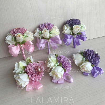 "Wrist Corsage/Boutonniere Free-Form Wedding Silk linen 2.36""(Approx.6cm)~2.76""(Approx.7cm) Wedding Flowers (123189923)"