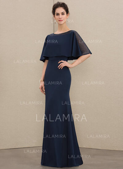 Sheath/Column Scoop Neck Floor-Length Jersey Evening Dress With Beading (017208802)