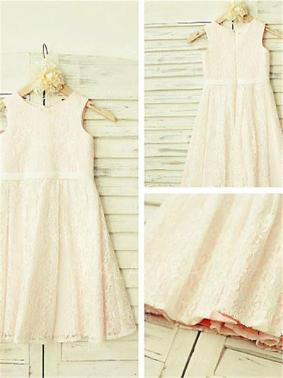 Scoop Neck A-Line/Princess Flower Girl Dresses Lace Pleated Sleeveless Ankle-length (010212044)