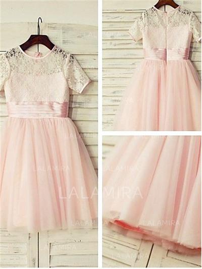 Scoop Neck A-Line/Princess Flower Girl Dresses Tulle/Lace Lace Short Sleeves Knee-length (010211938)
