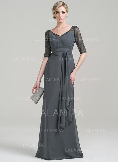 Sheath/Column Chiffon 1/2 Sleeves V-neck Floor-Length Zipper Up Mother of the Bride Dresses (008085271)