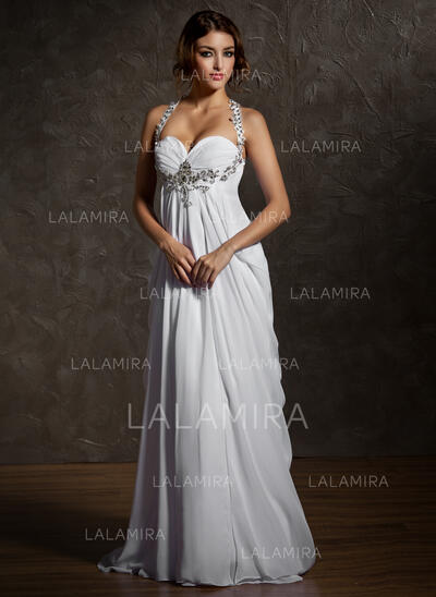 Robe Empire Amoureux Balayage/Pinceau train Mousseline Robe de mariée avec Plissé Brodé (002011570)