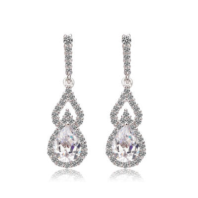 Earrings Zircon/Platinum Plated Pierced Ladies' Exquisite Wedding & Party Jewelry (011164921)