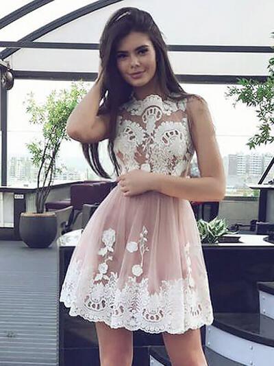 Deslumbrante Tule Vestidos princesa/ Formato A Decote redondo Vestidos de cocktail (016217690)