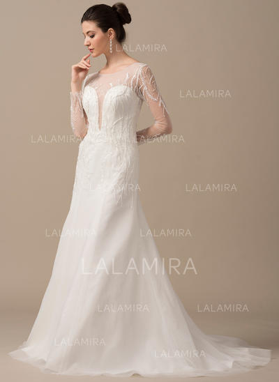 Sexy Tulle Wedding Dresses With A-Line/Princess Scoop Neck (002210632)