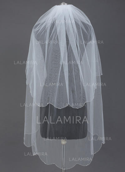 Fingertip Bridal Veils Tulle Two-tier Classic With Beaded Edge Wedding Veils (006151580)