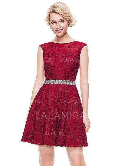 Tulle Lace Cap Straps A-Line/Princess Scoop Neck Homecoming Dresses (022214105)
