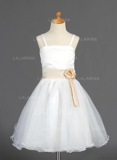 Knee-length Sleeveless Organza/Satin With Princess Flower Girl Dresses (010014663)