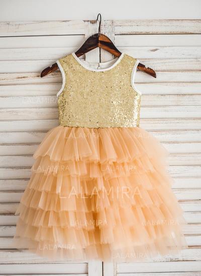 Simple Scoop Neck A-Line/Princess Flower Girl Dresses Tea-length Tulle/Sequined Sleeveless (010210143)