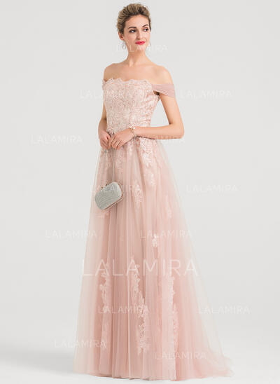 A-Line/Princess Off-the-Shoulder Sweep Train Tulle Evening Dress With Sequins (017147950)