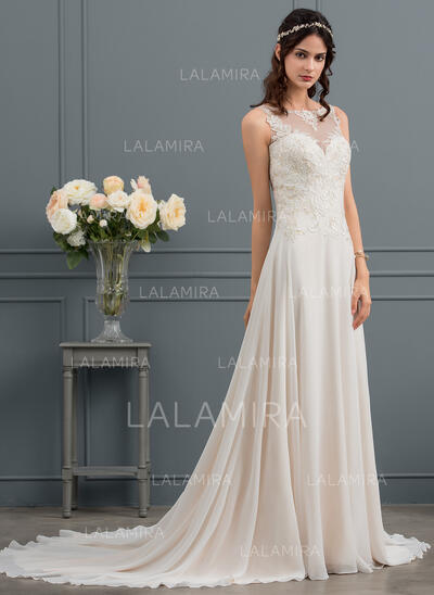 A-Line Illusion Court Train Chiffon Wedding Dress With Sequins (002145290)