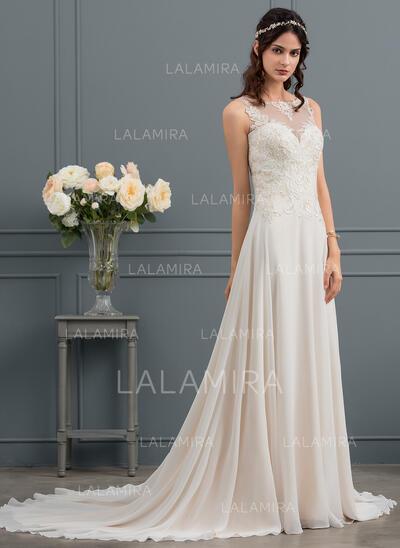 Coupe Évasée Illusion Traîne moyenne Mousseline Robe de mariée avec Paillettes (002145290)