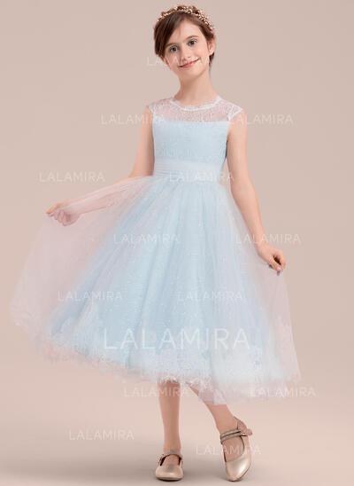 Forme Princesse Longueur mollet Robes à Fleurs pour Filles - Tulle/Dentelle Sans manches Col rond (010143278)