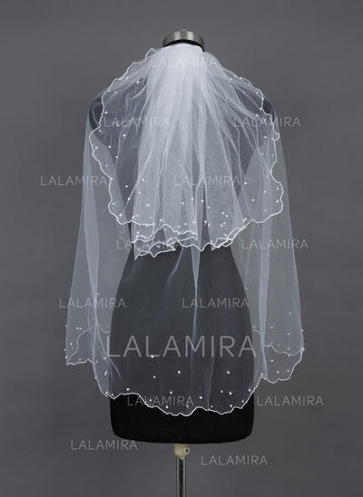 Fingertip Bridal Veils Tulle Two-tier Classic With Pearl Trim Edge/Scalloped Edge Wedding Veils (006151547)