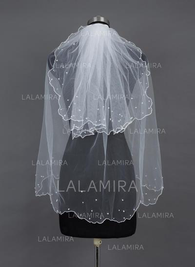 Yema del dedo velos de novia Tul Dos capas Estilo clásico con Borde en perla/Recortada Velos de novia (006037913)
