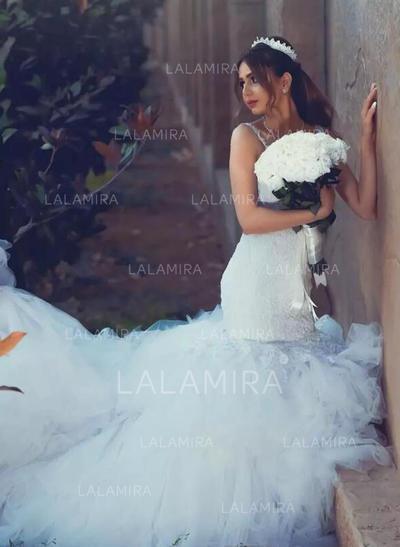 Standard Grande taille Forme Sirène/Trompette Tulle Sexy Robes de mariée avec Sans manches (002217909)